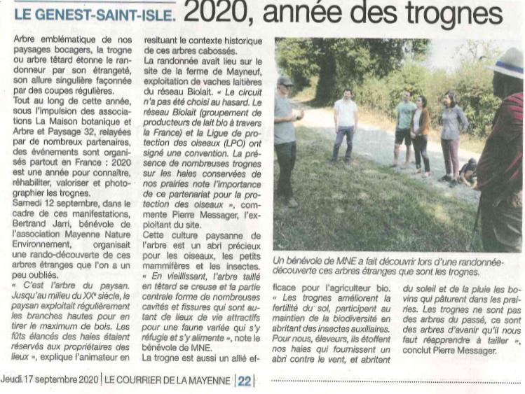 Visite «Produire du lait à l'ombre des trognes» – Mayenne Nature Environnement – 12 septembre 2020